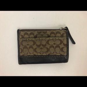 Brown & Tan Leather Coach Coin Purse Wallet